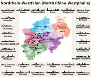 Germany state North Rhine-Westphalia high detailed vector map with largest cities skylines silhouettes. Germany state North Rhine-Westphalia high detailed vector Stock Illustration