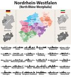 Germany state North Rhine-Westphalia high detailed vector map with largest cities skylines silhouettes. Germany state North Rhine-Westphalia high detailed vector Royalty Free Stock Image