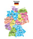 Germany states and districts colored vector map. Isolated on white Stock Photography