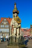 Germany. Statue of Roland at the Market Square in Bremen. February 14, 2018. Germany. Bremen. Statue of Roland at the Market Square in Bremen. February 14, 2018 stock photo