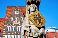 Germany. Statue of Roland at the Market Square in Bremen. February 14, 2018. Germany. Bremen. Statue of Roland at the Market Square in Bremen. February 14, 2018 royalty free stock image