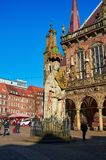 Germany. Statue of Roland at the Market Square in Bremen. February 14, 2018. Germany. Bremen. Statue of Roland at the Market Square in Bremen. February 14, 2018 royalty free stock photography