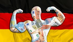 Germany Strong Euro. Abstract business background. Concept of powerful European EURO. Flag of German and bodybuilder shaped EUR currency. Financial concept about Stock Photography