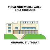 Germany, Stuttgart, The Architectural Work Of Le Corbusier line icon concept. Germany, Stuttgart, The Architectural Work stock illustration