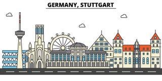 Germany, Stuttgart. City skyline architecture . Editable Royalty Free Stock Images