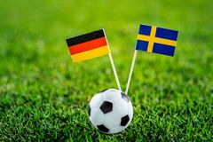 Germany - Sweden, Group F, Saturday, 23. June, Football, World Cup, Russia 2018, National Flags on green grass, white football bal. L on ground royalty free stock image
