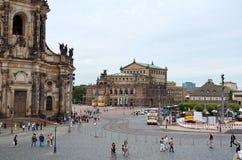 germany Teaterfyrkant i Dresden 16 Juni 2016 Royaltyfri Foto