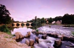 Germany,Thuringia,Saalfeld,Bridge over Saale river Stock Image