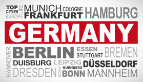 Germany top and most famous city names word cloud illustration royalty free illustration
