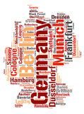 Germany top travel destinations word cloud. Germany map silhouette word cloud with most popular travel destinations vector illustration