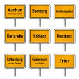 Germany Tourism Highlights City Limits Sign Vector. City limits signs of Germany`s most visited historic cities vector illustration  on white background set, set Stock Image
