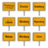 Germany Tourism Highlights City Limits Sign Vector. City limits signs of Germany`s most visited historic cities vector illustration isolated on white background Royalty Free Stock Image