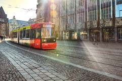 Germany. Tram in the street in Bremen. February 14, 2018. Germany. Bremen. Tram in the street in Bremen. February 14, 2018 stock photography