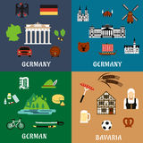Germany travel ant culture flat icons Stock Image