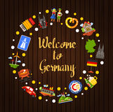 Germany travel circle postcard with famous German symbols. Welcome to Germany - vector flat design Germany travel circle postcard template with icons and Royalty Free Stock Image