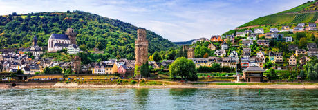 Germany travel - cruise over Rhine valley. Pictorial town Oberwesel Stock Photography