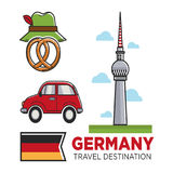 Germany travel destination promo banner with flag and showplace Stock Photos