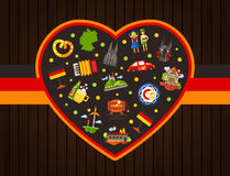 Germany travel heart postcard with famous German symbols. Vector flat design Germany travel heart postcard template with icons and infographics elements of Royalty Free Stock Photo