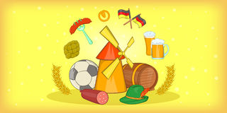 Germany travel horizontal banner, cartoon style Stock Photo