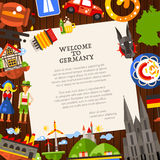 Germany travel postcard template with famous German symbols. Welcome to Germany - vector flat design Germany travel postcard template with icons and infographics Stock Photography