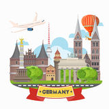 Germany travel poster with airplane. Trip architecture concept. Touristic background with landmarks, castles, monuments. Royalty Free Stock Photo