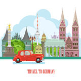 Germany travel poster with red car. Trip architecture concept. Touristic background with landmarks, castles, monuments. Stock Photo