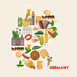 Germany travel poster. Trip architecture concept. Touristic background with landmarks, castles, monuments. Stock Images