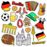 Germany Travel Scrapbook Stickers, Patches, Badges for Prints with Sausage, Flag, Architecture and German Elements. Comic Style Vector Doodle Stock Image
