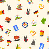 Germany travel seamless pattern with famous German symbols. Vector flat design Germany travel seamless pattern with icons and infographics elements of famous Royalty Free Stock Photography