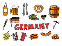 Germany travel set vector illustration. Germany travel traditional food and attractions concept icons set. Vector illustration Royalty Free Stock Image