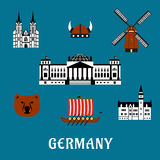 Germany travel and tourism flat icons Stock Photography