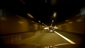 Germany Tunnel Night Traffic. Dash cam shot, high speed time-lapse car going through tunnel. Shot on  HDV 1080 stock video