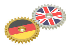 Germany and UK flags on a gears, 3D Stock Photography