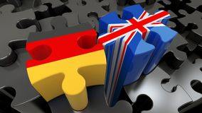Germany and United Kingdom flags on puzzle pieces. Political relationship concept. 3D rendering vector illustration