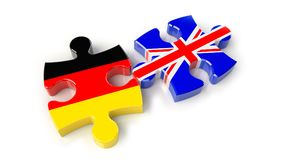Germany and United Kingdom flags on puzzle pieces. Political rel Stock Image