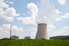 Germany, Unterahrain,View of nuclear power plant Isar wit Royalty Free Stock Image