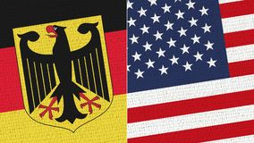 Germany and Usa - America - Us - United States America Flag. Fabric Texture - High Resolution - Two Flag Together Stock Illustration