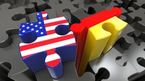 Germany and USA flags on puzzle pieces. Political relationship concept. 3D rendering Stock Image