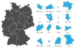 Germany map with federal states vector set. Germany vector map with federal states set stock illustration