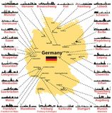 Germany vector map with states capitals and largest citites skylines silhouettes on white background. Germany vector map with states capitals and largest citites Stock Photography