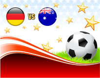 Germany versus Australia on Abstract Red Background with Stars Stock Photography
