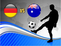 Germany versus Australia on Blue Abstract World Map Background. 