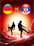 Germany versus Serbia on Abstract Red Light Background Royalty Free Stock Photo