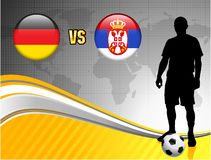 Germany versus Serbia on Abstract World Map Background Stock Photos