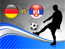 Germany versus Serbia on Blue Abstract World Map Background Royalty Free Stock Photos