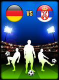 Germany versus Serbia on Stadium Event Background Stock Photos