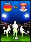 Germany versus Serbia on Stadium Event Background Stock Photos