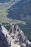 Germany, View of Ehrwald from Zugspitze mountain Royalty Free Stock Photography