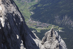 Germany, View of Ehrwald from Zugspitze mountain Stock Photo