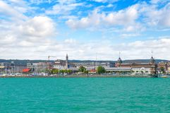 Germany-view on the town Constance from ferry on Lake Constance Stock Image